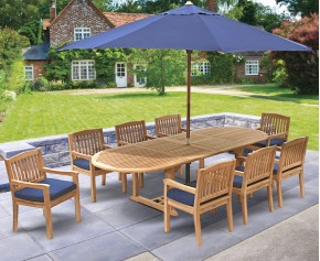Brompton Teak Garden Extendable Dining Set with 8 Armchairs - Outdoor Patio Table and 8 Chairs -
