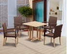 Canfield 4 Seater Square Table 0.8m with St. Tropez Stacking Chairs