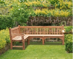 Balmoral Teak Wooden Corner Garden Bench (Left Orientation) - School Benches