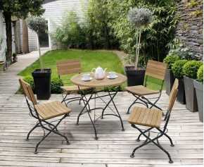 Bistro Round Table and 4 Chairs - Patio Outdoor Bistro Dining Set - Folding Chairs