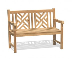 Princeton Teak 4ft Lattice Garden Bench - Park Benches