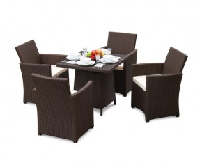 Eclipse Poly Rattan 4 Seater Garden Set (6mm flat weave) - Square Table