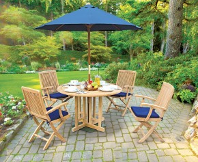 Berrington Round Garden Gateleg Table and Arm Chairs Set - Outdoor Patio 4 Seater Dining Set - Folding Table