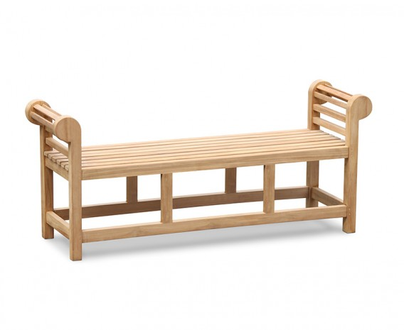 Lutyens-Style Teak Backless Outdoor Bench - 1.65m