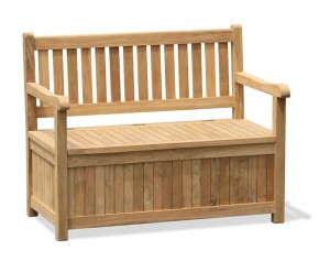 Windsor Teak Garden Storage Bench with arms – 1.2m