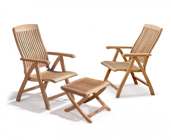 Bali Garden Recliner Chairs Set with Footstool