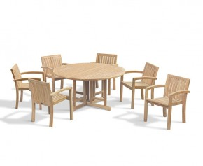 Berrington Drop Leaf Garden Table 1.5m and 6 Monaco Stacking Chairs