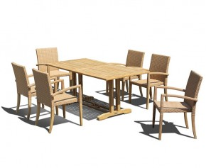 Belgrave 6 Seater Pedestal Table 1.8m and St. Tropez Stacking Chairs