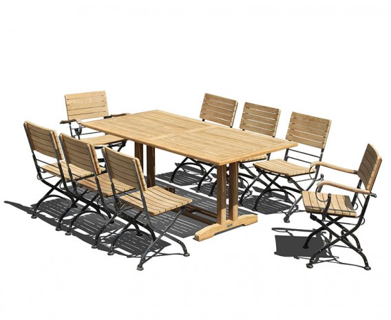 Belgrave 8 Seat Pedestal Table 1.8m & Bistro Armchairs and Side Chairs