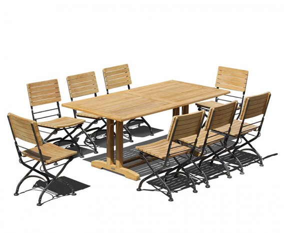Belgrave 8 Seater Pedestal Table 1.8m & Bistro Folding Side Chairs