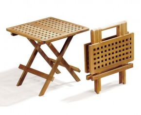 Square Teak Folding Picnic Table, Chessboard Slats - Side Tables