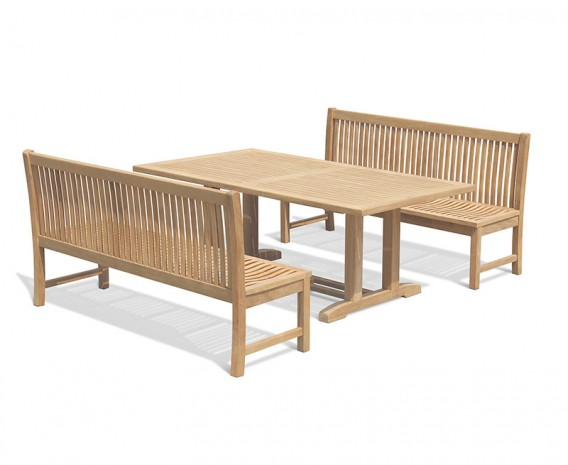 Cadogan 8 Seater Teak Pedestal Table 2m with Canterbury Dining Benches