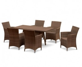 Riviera 6 Seater Rattan Garden Dining Set with Rectangular Table 1.6m & Chairs