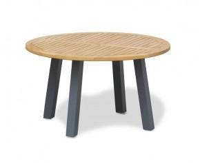 Disk Round Teak Garden Table with Aluminium Legs – 1.3m