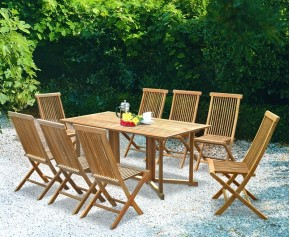 Shelley 8 Seater Rectangular Folding Garden Table and Ashdown Chairs Set - Shelley Dining Sets