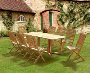 Shelley Gateleg Folding Garden Table and Chairs Set - 8 Seater Dining Table and Chairs