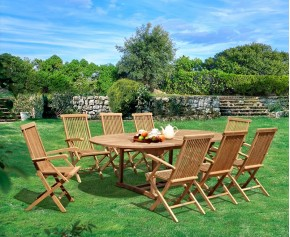 Ashdown Teak Extending Table and 8 Chairs Set - Oval Table
