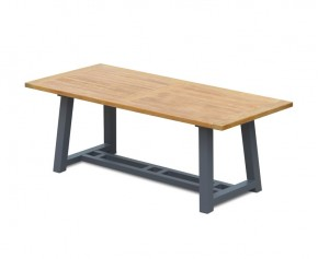 Teak Garden Trestle Table, Rectangular with Aluminium Legs – 2m