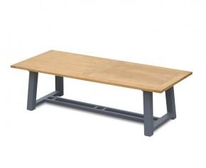 Teak Trestle Garden Table, Rectangular with Aluminium Legs – 2.6m