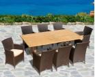 Cadogan Teak Pedestal Table 2.25m & 8 Riviera Rattan Armchairs, flat weave