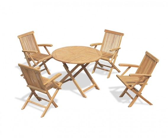 Suffolk Folding Teak Round Table 1m and 4 Chester Low Back Armchairs