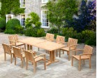 Cadogan 8 Seater Rectangular Dining Table 2.25m & Monaco Stacking Chairs