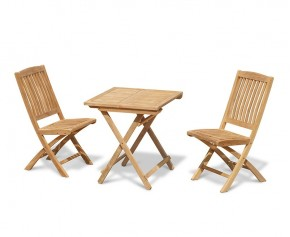 Rimini Folding Teak Square Table 0.7m and 2 Bali Side Chairs
