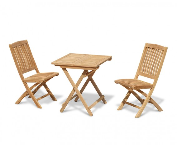Rimini Folding Teak Square Table 0.7m and 2 Bali Side Chairs