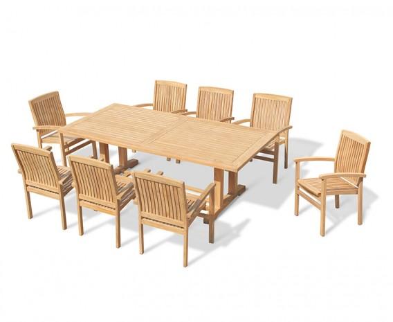 Cadogan 8 Seater Teak Pedestal Table 2.25m & Bali Stacking Chairs