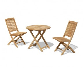 Suffolk 2 Seater Teak Folding Garden Table and Chairs Set
