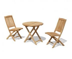 Suffolk 2 Seater Teak Round Garden Table and Bali Folding Chairs Set