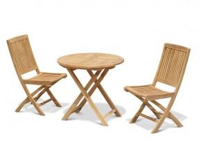 Suffolk 2 Seater Teak Round Garden Table and Rimini Folding Chairs Set