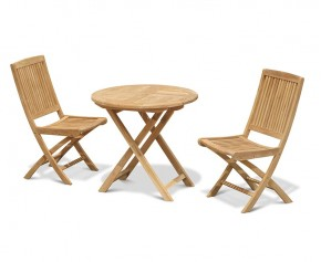 Suffolk 2 Seater Teak Round Garden Table and Rimini Folding Chairs Set