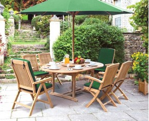 Deluxe Brompton Teak Dining Table and Bali Folding & Reclining Chairs Set - Oval Table