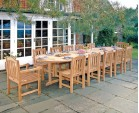 Hilgrove 12 Seater 4m Teak Oval Dining Set with Armchairs and Side Chairs