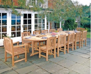 Hilgrove 12 Seater 4m Teak Oval Dining Set with Armchairs and Side Chairs - 10+ Seater