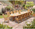 Hilgrove 12 Seater 4m Teak Oval Dining Set with Bali Reclining Chairs