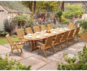 Hilgrove 12 Seater 4m Teak Oval Dining Set with Bali Reclining Chairs - 10+ Seater
