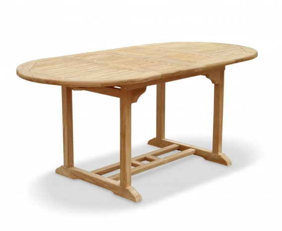 Brompton Bijou Double Extending Dining Table, Oval, Teak – 120 - 180cm