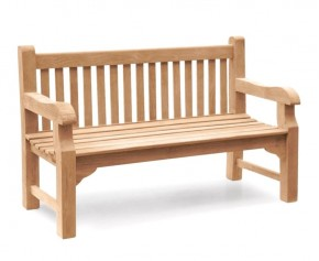 Balmoral 5ft Teak Park Bench - Street Bench - Memorial Benches