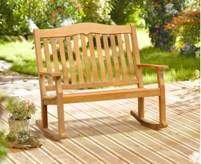 Rose Garden Teak 2 Seater Rocking Outdoor Bench – 1.2m