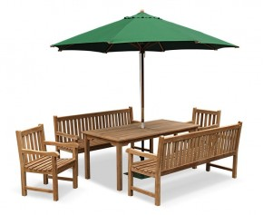 Sandringham Teak Benches, Table and Chairs Set - Windsor Dining Set