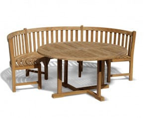 Henley Teak Garden Table and Bench Set - Dining Sets with Benches