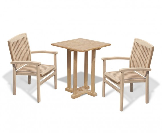 Canfield Square 60cm Table with 2 Bali Stacking Chairs Set
