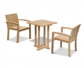 Canfield Square 60cm Table with 2 Monaco Stacking Chairs Set
