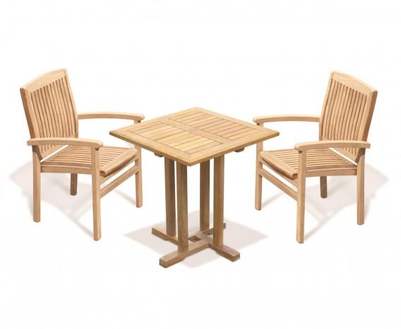 Canfield Square 70cm Table with 2 Bali Stacking Chairs Set