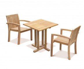 Canfield Square 70cm Table with 2 Monaco Stacking Chairs Set