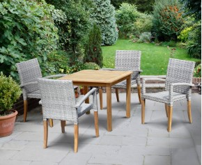 St Tropez Teak and Rattan Table and Chairs Set - Patio Chairs