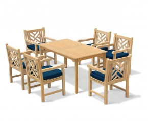 Sandringham 6 Seater Garden Table 1.5m & Princeton Armchairs