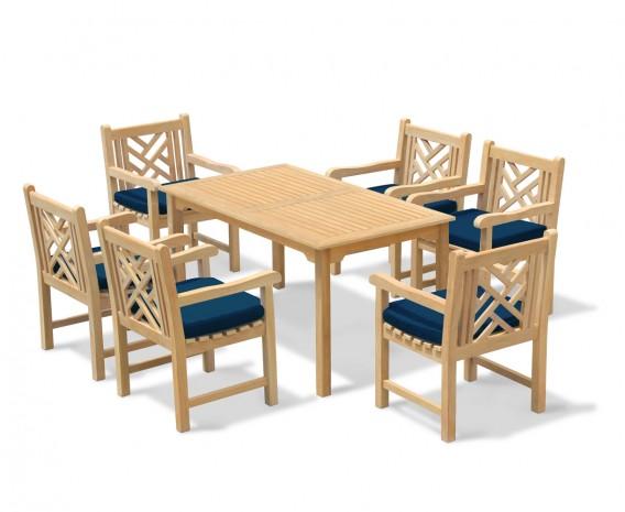 Sandringham 6 Seater Garden Table 1.5m & Princeton Armchairs